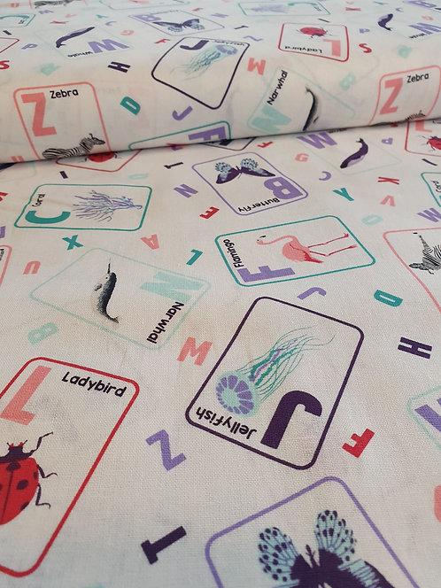 Animal Cards Printed Onto White Cotton Fabric