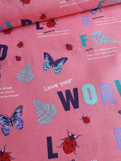 Butterflies Printed Onto Pink Cotton Fabric