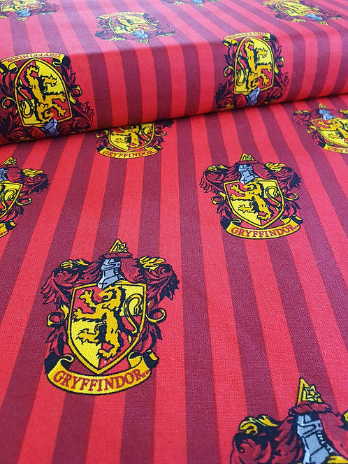 Harry Potter Striped Gryffindor Badge On Cotton Fabric