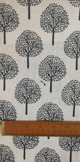 Dark Grey Mulberry Printed On To Linen Look fabric