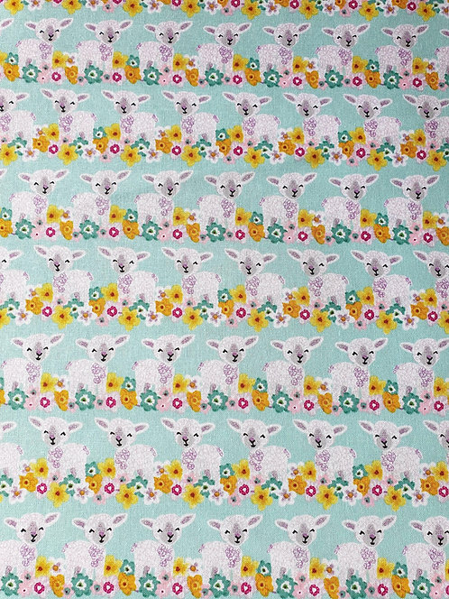 Lamb Print On Cotton Fabric From The Easter Friends Collection
