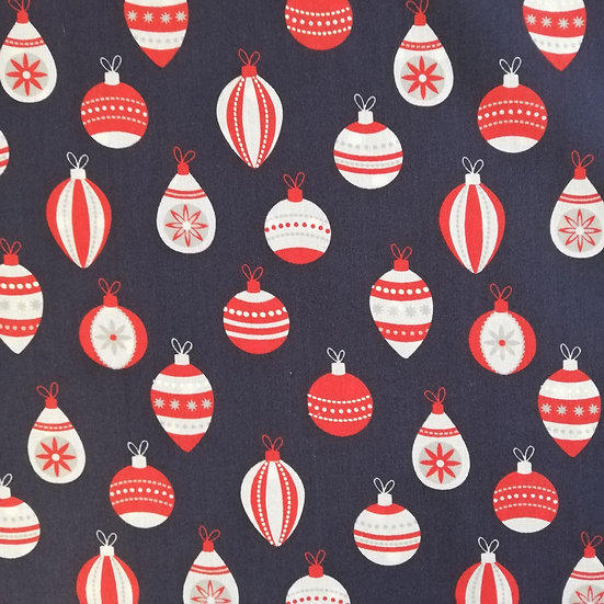 Red And White baubles Printed Onto Navy Polycotton fabric