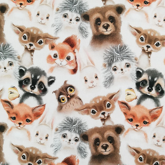 Watercolour Baby Bear Fox Squirrel Raccoon Digital Print Cotton Fabric