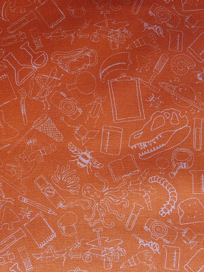 Science Tools Printed Onto Orange Cotton Fabric
