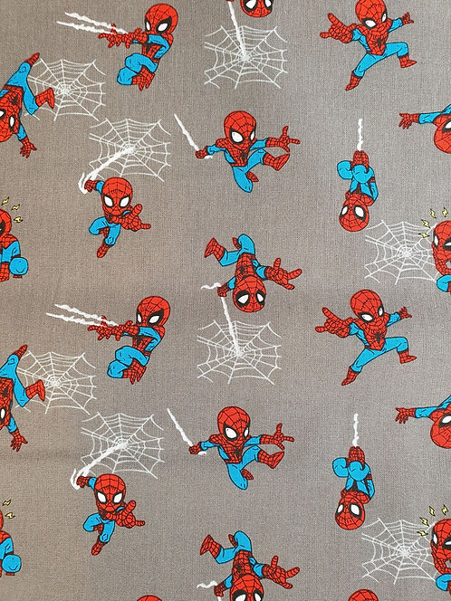 Spiderman Mini Heroes Printed On Cotton Fabric On A Grey Background