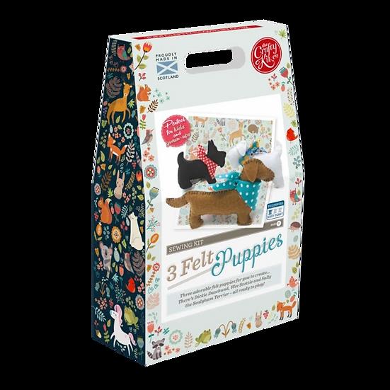 The Crafty Kit Company 3 Felt Puppies Sewing Kit