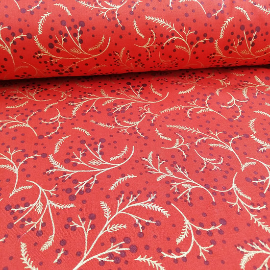 Red  Fabric With Christmas Metallic Gold Sprigs