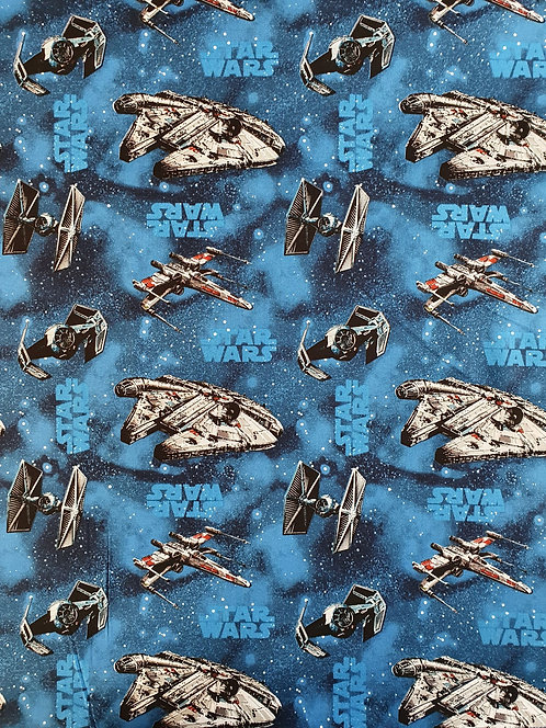 Star Wars Ships Printed Onto A Blue Background On Cotton Fabric