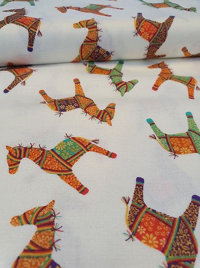 Delhi Horses Printed Onto Ivory Fabrics