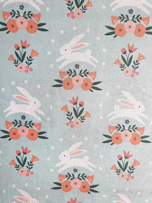 Spring Bunny's Leaping Printed Onto Cotton Fabric