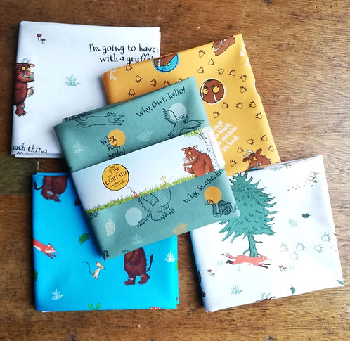 Cotton Fabric With A Gruffalo Print Sold As A Fat Quarter Bundle