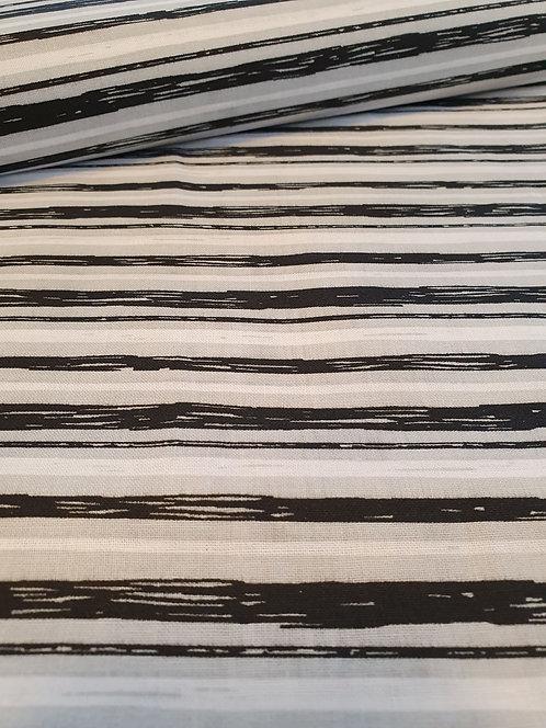 A Grey Black And White stripe Onto Cotton Fabric