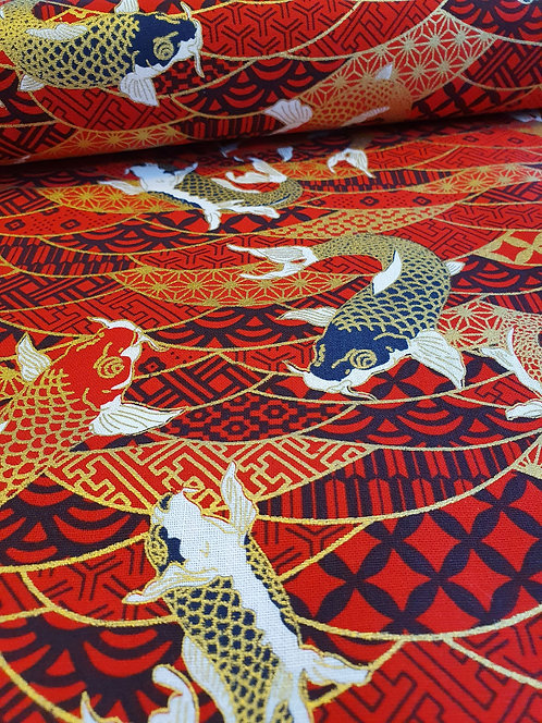Red Cotton Fabric With Japanese Carp Printed On