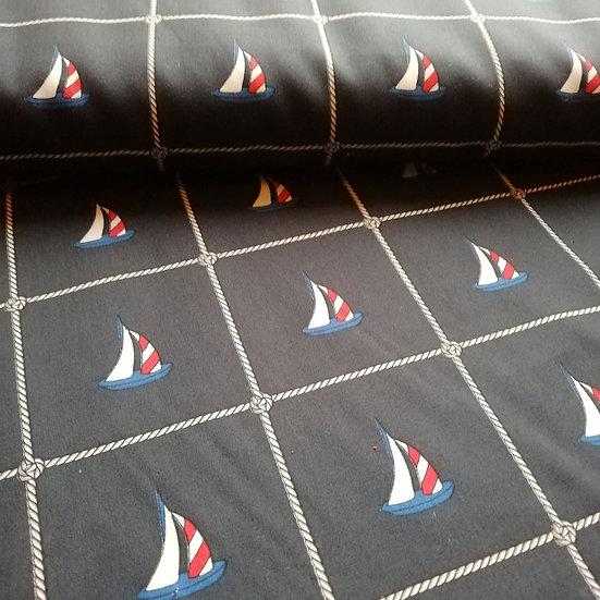 Navy Poplin Sailing Boats Printed Fabric