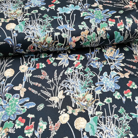 Cotton Stretch Fabric With Floral Design On A Navy Background