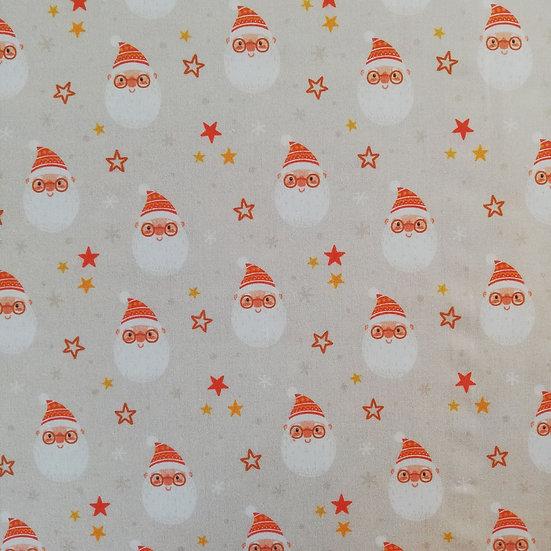Santa Face On Cotton Fabric