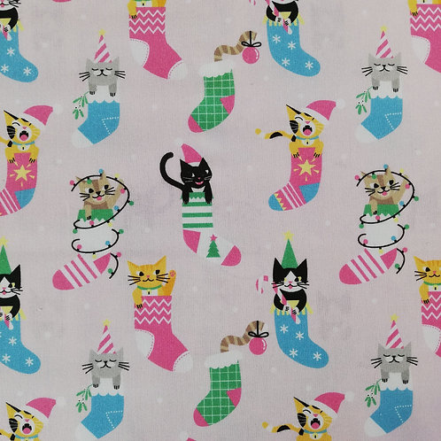 Christmas Cats In Christmas Stockings Cotton Fabric