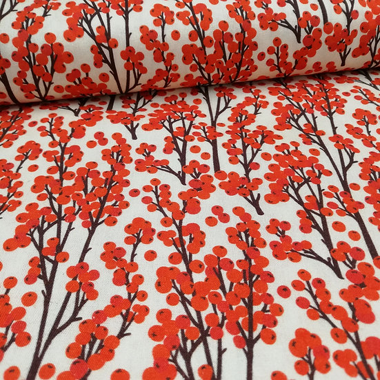 Redcurrant Berries Printed Onto Cotton Fabric