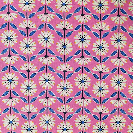 Cotton Quilting Fabric with Flowers In A Striped Design