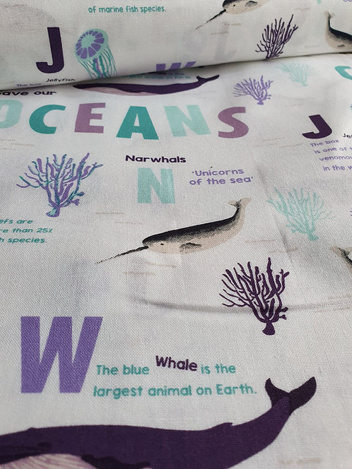 Ocean Animals Printed Onto Cotton Fabric