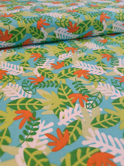 Jungle Leaves Printed On To Cotton Fabric