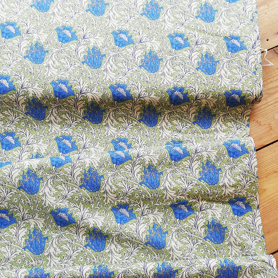 Pima cotton lawn with a william morris floral inspired design in blue and green