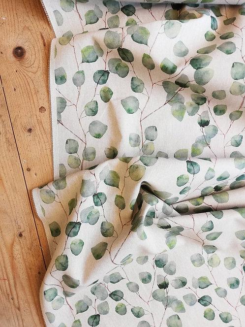 Watercolour leaves Print Onto Linen Look Panama Fabric