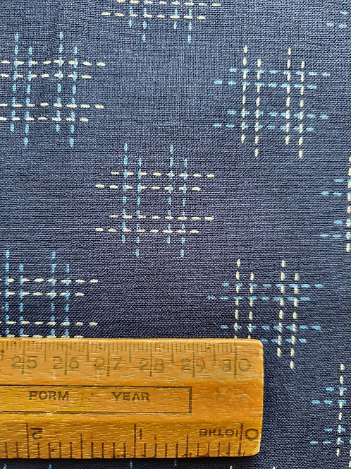 Indigo Cotton Fabric With A White And Blue Crosshatch Square Print By Sevenberry