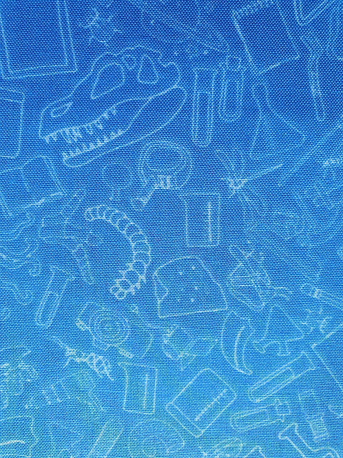 Science Tools Printed Onto Blue Cotton Fabric