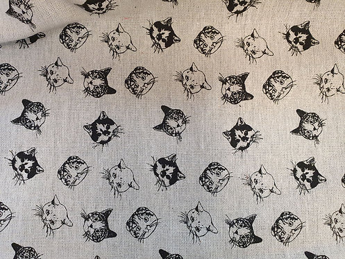 Cotton Mix fabric Printed With Cat Heads