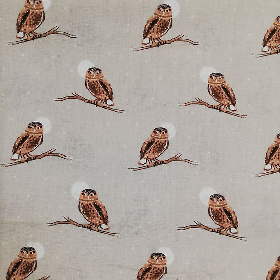 Owl In Woodland Scene On Printed Cotton Fabric
