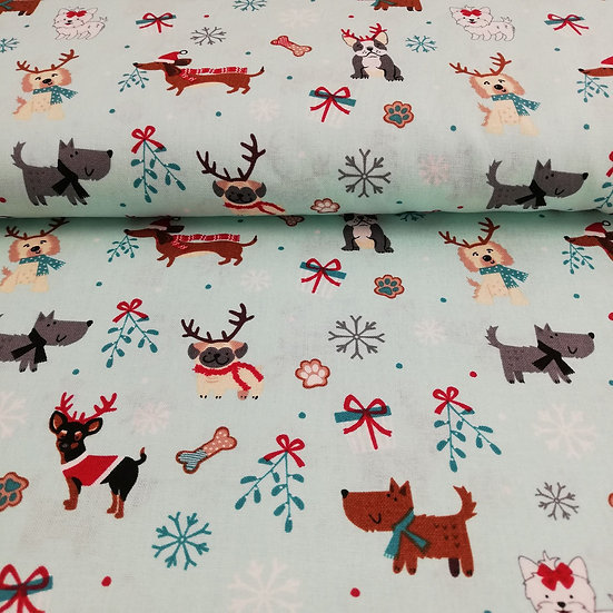 Christmas Dog Cotton Fabric On Pale Blue Background