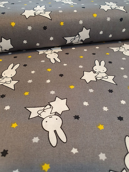 Grey Cotton Fabric With A Miffy Print With Shooting Stars