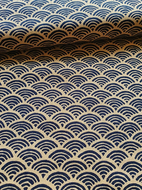Seigaiha Scalloped Waves Printed On TO Cotton Fabric