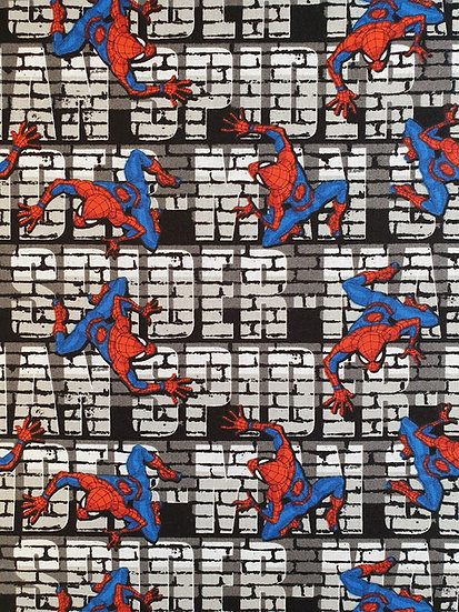 Spiderman Wall Crawler Design Printed On To Cotton Fabric