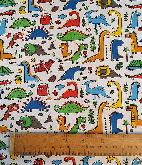 Polycotton Print Fabric With Dinosaurs