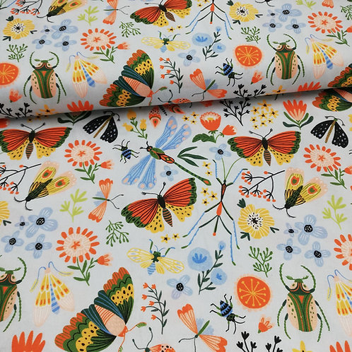 Butterflies And Bugs Printed Onto Cotton Fabric