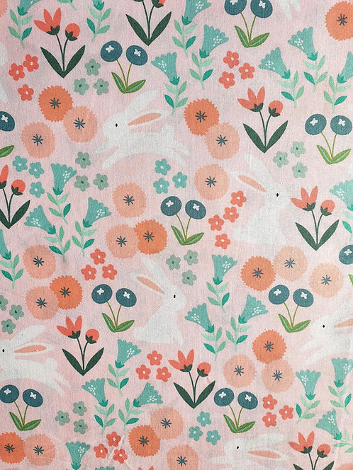 Spring Bunny's Playing Printed Onto Cotton Fabric