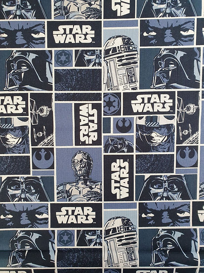 Star Wars Classic Block Printed On To Cotton Fabric