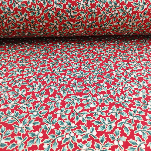 Red Fabric With Holly Leaves And Gold Metallic Berries