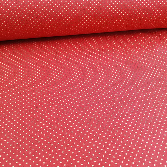 Red Cotton Fabric With Metallic Gold Dots