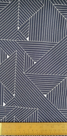 Navy And White Lines Printed Onto Fabric