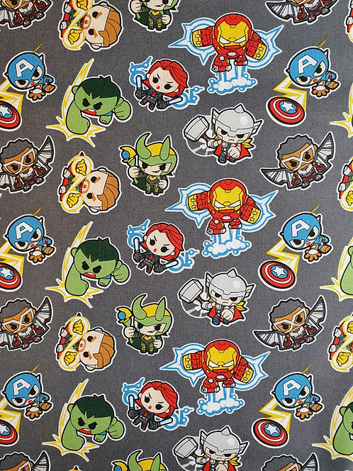 Mini Marvel Heroes Printed On To Grey Cotton Fabric