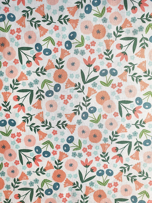Floral Print From The Spring Bunny Cotton Fabric Collection