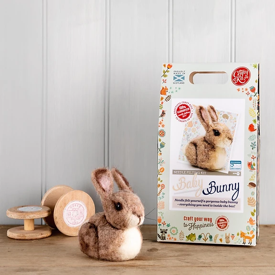 The Crafty Kit Co Needle Felting Baby Bunny Kit