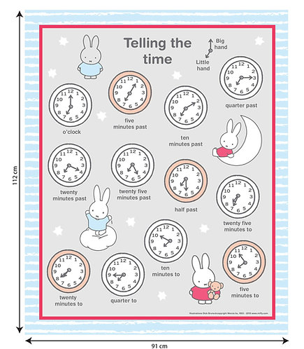 MIFFY - TELLING THE TIME - COTTON PANEL
