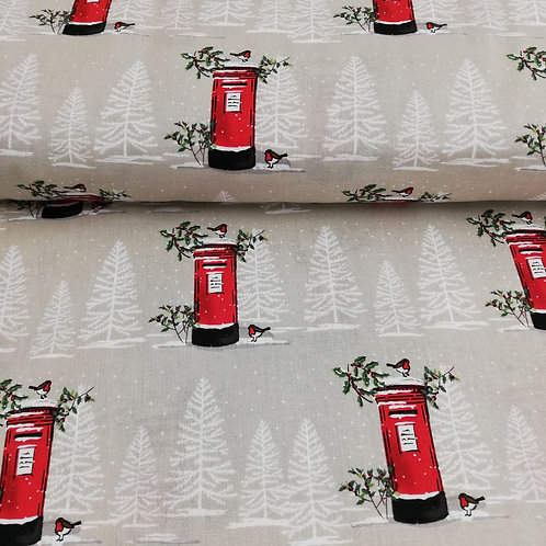 Christmas Red Letterbox In A Snowy Scene Printed Onto Cotton Fabric