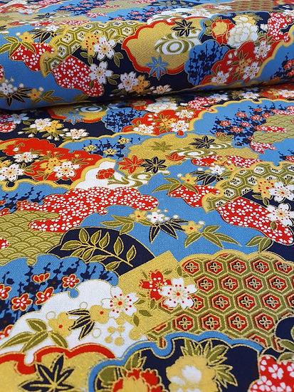 A Japanese Floral Print On Cotton Fabric