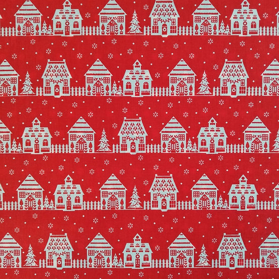 Red Polycotton Fabric With White Houses Printed On