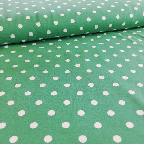 Green Jersey Fabric With A White Pea Spot